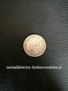 25 cent 1928 Koningin Wilhelmina voorkant