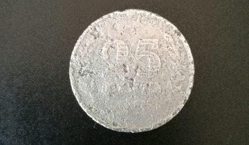 25 cent 1942 Zink achterkant